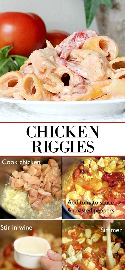 Chicken or Utica Riggies is an Italian-American pasta dish native to the Utica-Rome area of New York State. It is a pasta dish consisting of chicken, rigatoni and hot or sweet peppers in a spicy cream and tomato sauce.