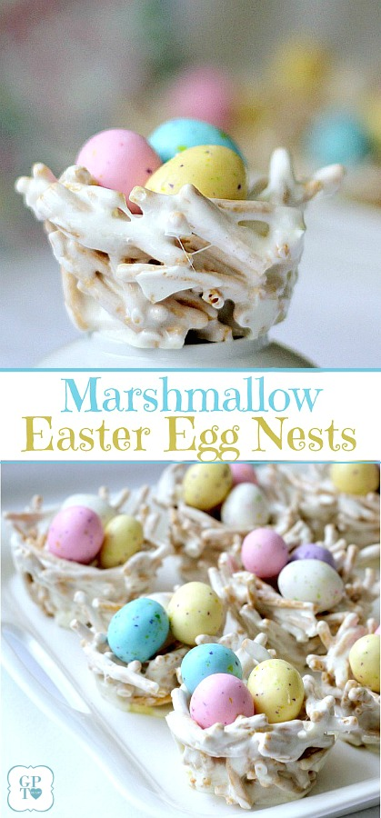 Cute, edible nests are adorable for Easter. Pretty pastel candy eggs nestled in twig-like bundles make a lovely welcome to dinner guests. They are made using Chow Mein noodles giving the appearance of sticks gathered by the birds to construct their nests.