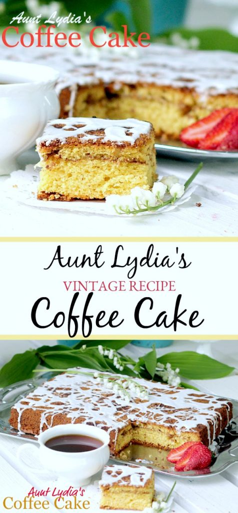 Aunt Lydia's coffee cake is a family favorite from a vintage recipe. A doctored cake mix with the addition of brown sugar, cinnamon and pecans is easy and delicious.