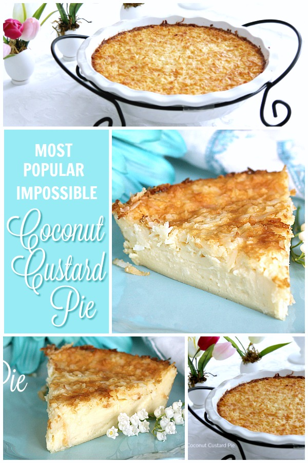 Super easy, so delicious and always a favorite. Creamy Impossible Coconut Custard pie creates its own crust and takes just a few minutes to prepare.