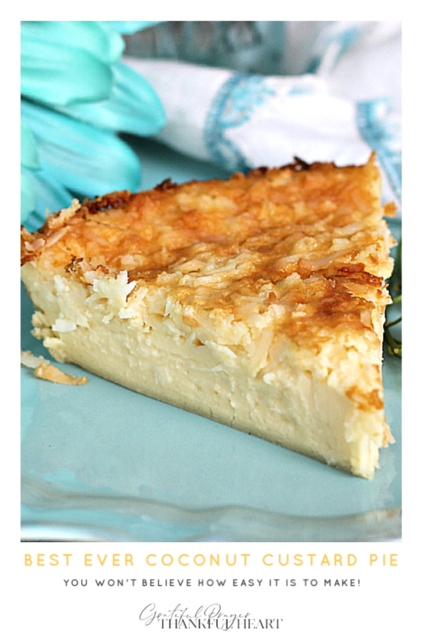 Super easy recipe that is delicious and always a favorite. Creamy Impossible Coconut Custard pie creates its own crust and takes just a few minutes to prepare. Add ingredients to a blender, pour into a pie pan, top with coconut and bake. It is that easy!
