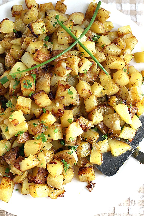 Homemade hashed browns are buttery potato cubes with a crispy exterior and tender center so right with breakfast or as a dinner side.