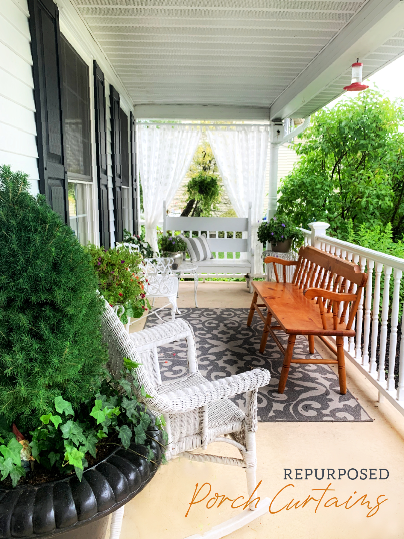 Easy how-to for creating a welcoming, breezy porch using repurposed sheer curtains to give a little privacy, romance and curb appeal to your home.