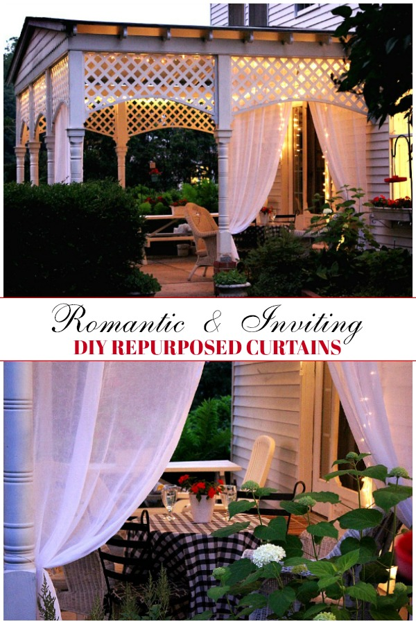 Create an inviting ambiance for dining and entertaining with an easy up-cycling DIY. Re-purposed Curtains for the Patio look lovely and romantic.