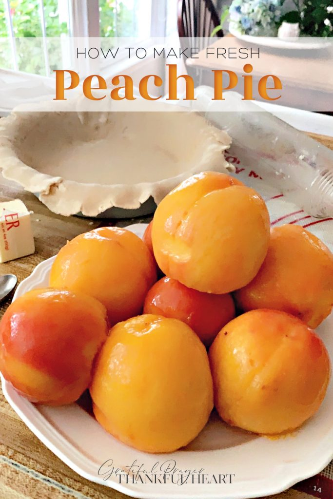 Fresh peach pie made with a homemade pie crust for a perfect summertime dessert. Easy recipe for crust or use a purchased crust for ease and to save time.