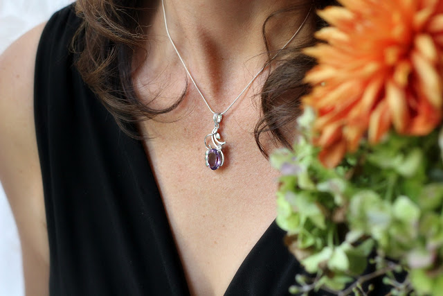 Novica jewelry and necklace from India is a beautiful amethyst flower necklace called, Nostalgia.