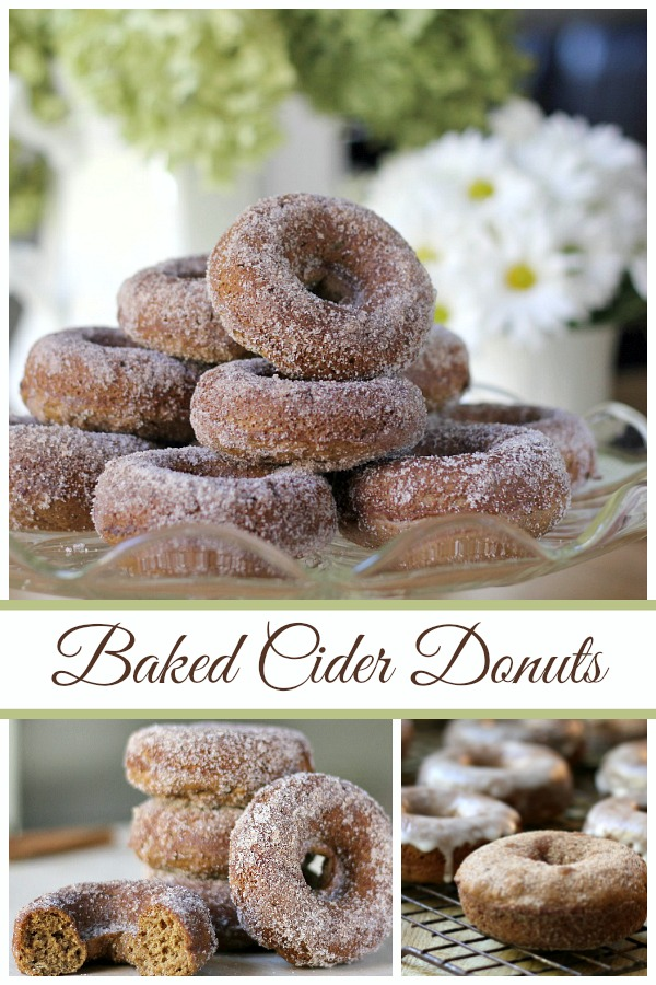 Baked Apple Cider Doughnuts (donuts) are delicious alternative to fried versions. Made with apple butter, cinnamon, maple syrup and rolled in more cinnamon sugar.