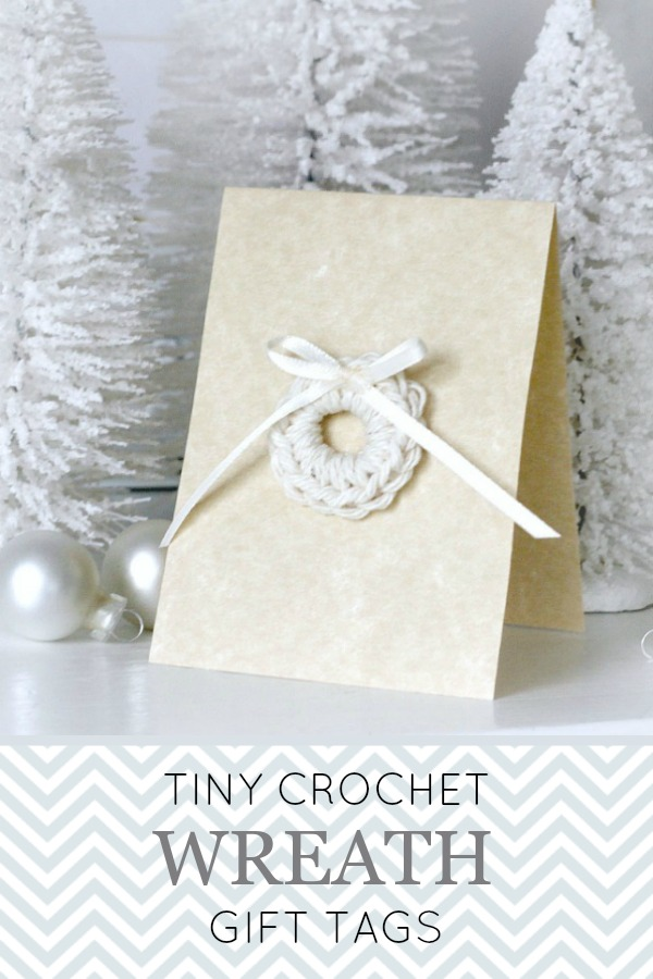 Super quick and super easy pattern. Make a stack of crochet wreath tags to decorate holiday packages in very little time. Make them in any color using tiny amounts of yarn.