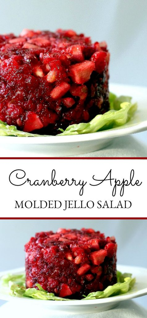 Tart, sweet and crunchy, Cranberry Mold uses raw cranberries with apples and nuts. Jello binds everything together for a delicious Thanksgiving side dish.