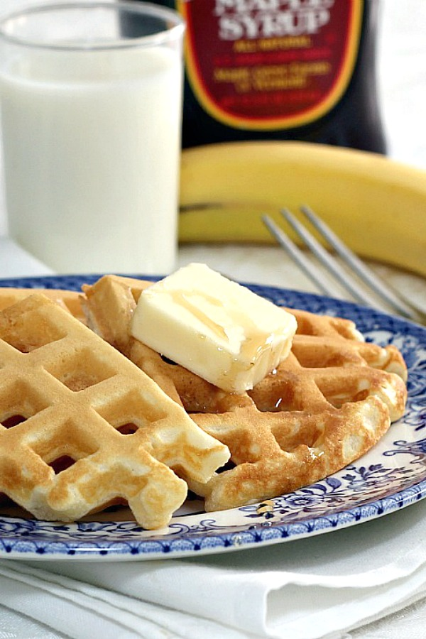 Your family will love these homemade waffles for breakfast! Easy recipe that also freezes well for those busy days when you just have time to heat and serve.