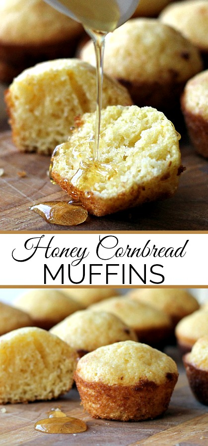 Make regular-size or mini Honey Cornbread Muffins with easy recipe. Drizzle with additional honey if you like and serve as a snack or a delicious side with soup, salad or dinner entree