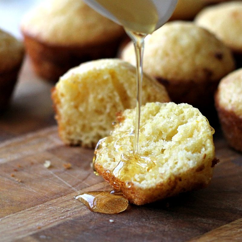 Make regular-size or mini Honey Cornbread Muffins with easy recipe. Drizzle with additional honey if you like and serve as a snack or a delicious side with soup, salad or dinner entree.