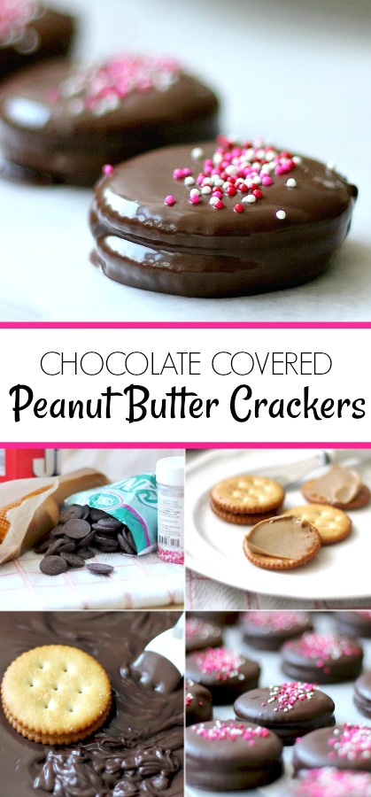 Chocolate Covered Peanut Butter Crackers PRINT DIRECTIONS Simply melt a bag of chocolate disks (I used dark chocolate) Spread peanut butter on a cracker and top with another cracker. Dip in melted chocolate and place on pan lined with waxed paper. Sprinkle with colorful decorations Cool in the refrigerator until hardened