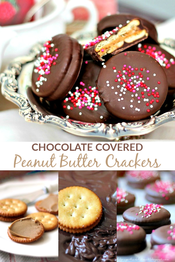 Chocolate Covered Peanut Butter Crackers are really quick and easy and are perfect treats for Valentine's Day gift-giving.