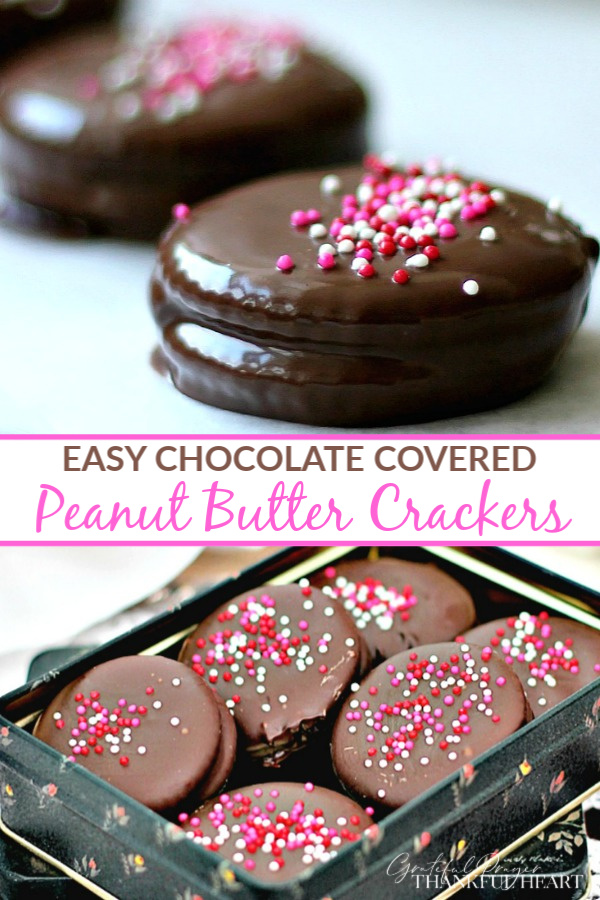 A really quick and easy Valentine's Day treat, Chocolate Covered Peanut Butter Crackers can be made in just a few minutes with justa few ingredients. Add sprinkles to match any occasion!
