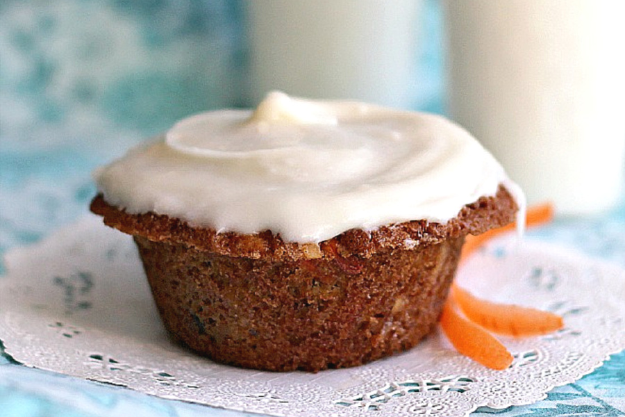 Carrot, Currant & Coconut Muffins served plain or with Cream Cheese Frosting. Make healthier by substituting applesauce for the butter.
