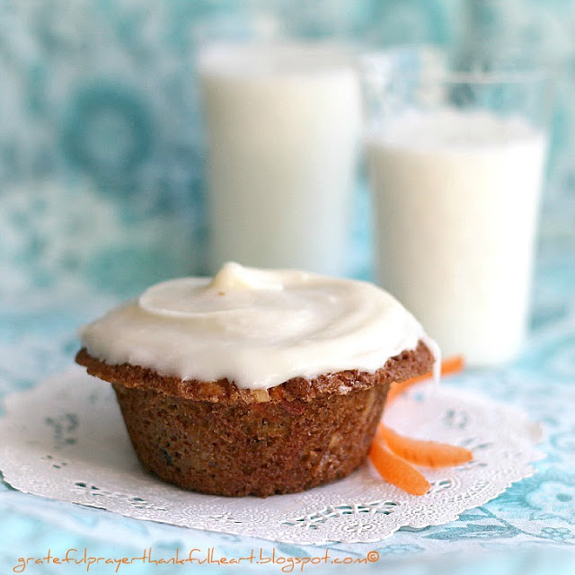 Carrot, Currant and Coconut Muffins with Cream Cheese Frosting