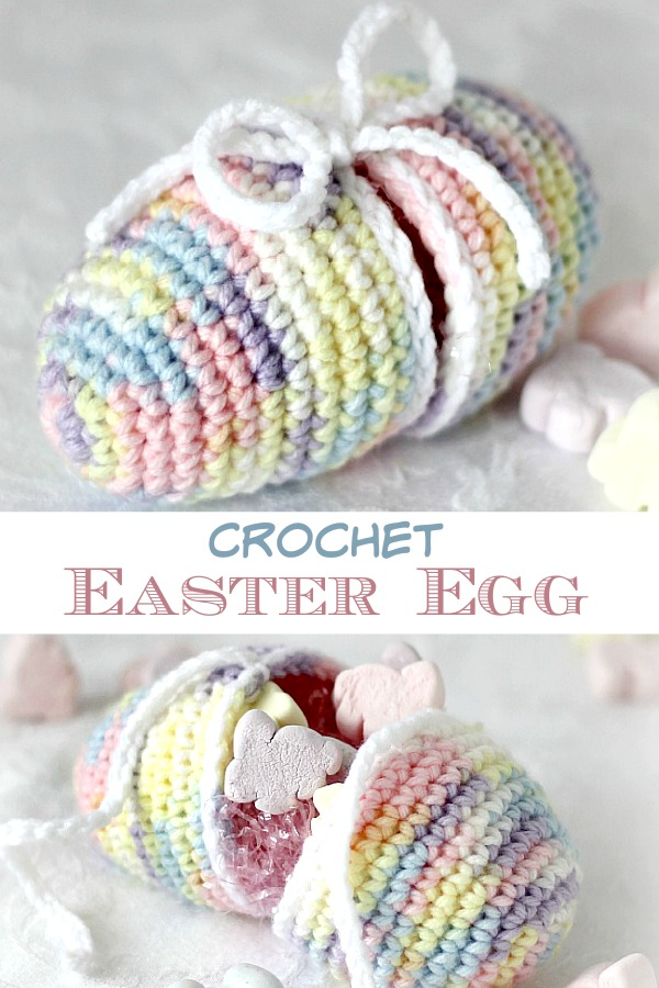 Easy pattern for Crochet Easter Egg that separates to open. Fill with a little Easter grass and tuck in candy or small toys and tie to close. Surprise children in their baskets or use in a pretty holiday centerpiece.