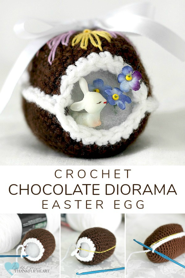 Peek inside this sweet crocheted chocolate diorama Easter egg decorated with faux frosting and embroidered scrolls. Cute pattern for holiday décor tablescapes or filling Easter baskets.