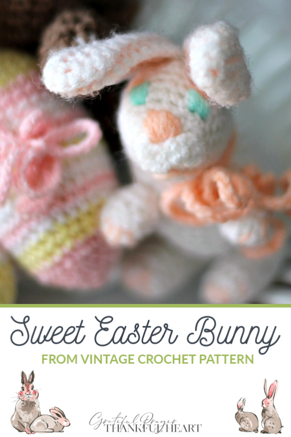 Adorable Easter decorations of soft yarn eggs, bunny, chick and duck all from vintage crochet patterns.