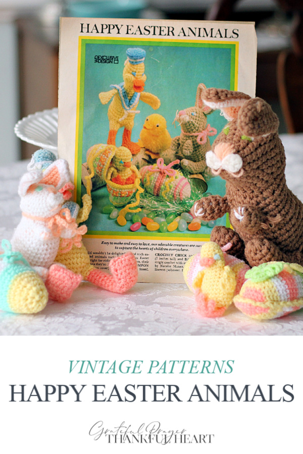 Sweet memories of crocheting with my mom to create adorable Easter decorations. The patterns are now vintage that we used to crochet pastel eggs, an alert bunny, a tiny chick and a dapper duck in soft pastel yarn.