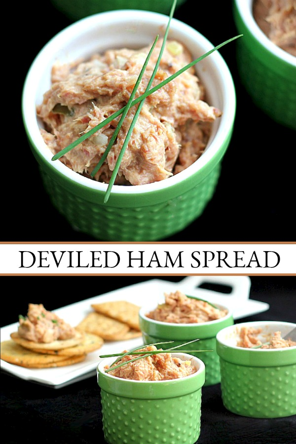Deviled Ham Spread is a great filling and delicious on crackers. Use leftover holiday ham to make appetizers for snacking or lunch time sandwiches.