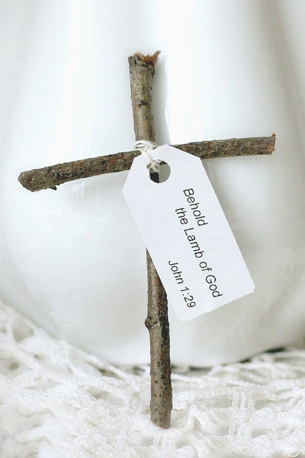 A humble little wooden cross made from sticks gathered from your backyard. With or without an attached bible verse it is a sweet Easter remembrance and decoration.
