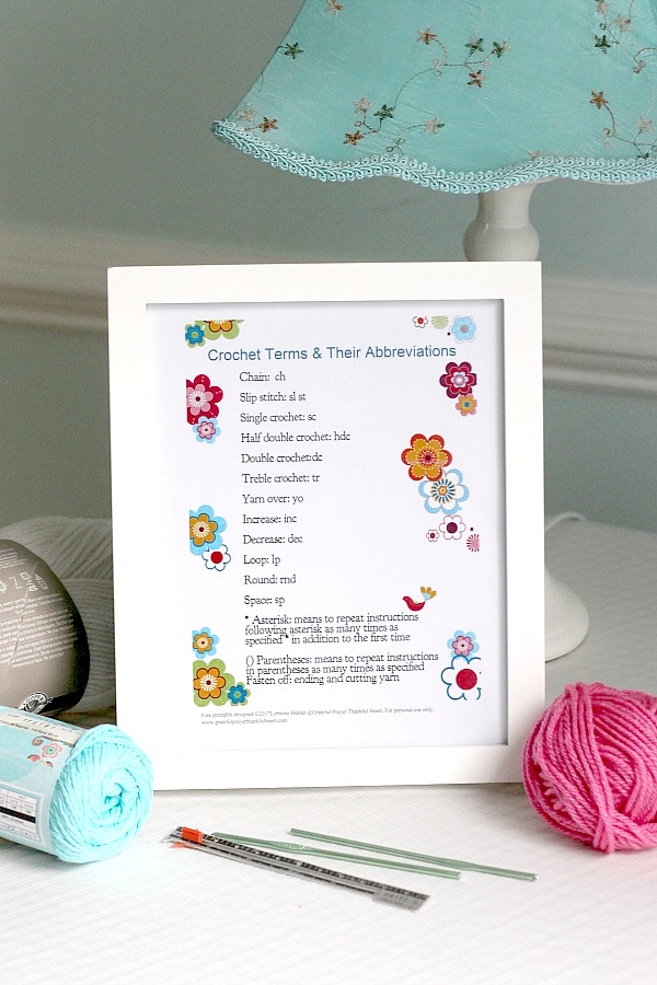 Print out and frame this cute chart with the terms and abbreviations used in crochet patterns. Display on your craft table for quick reference and to brighten the area.