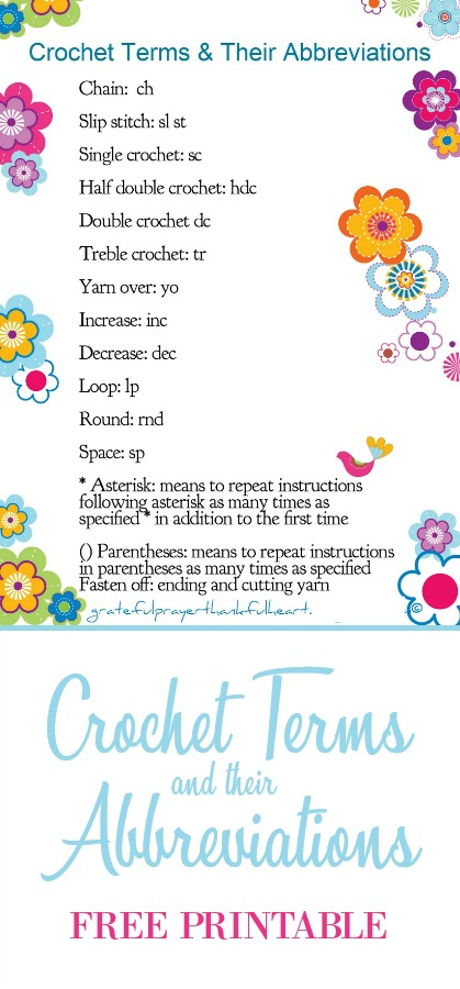 Print out and frame this cute FREE printable chart with the terms and abbreviations used in crochet patterns. Display on your craft tablefor quick reference and to brighten the area.