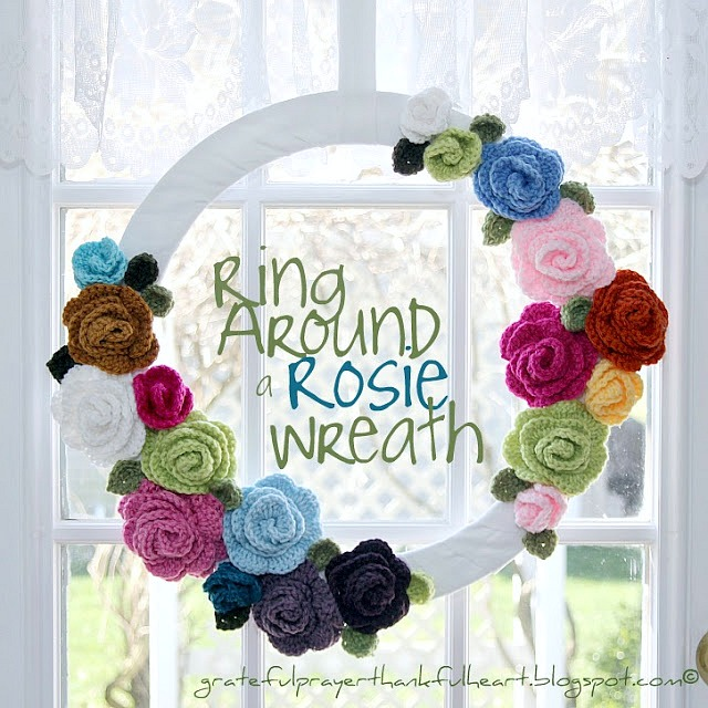 Crochet Ring around a rosie flower wreath pattern
