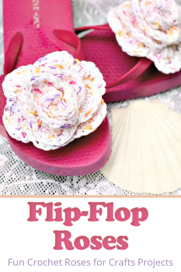 Embellish summer flip-flops with the cutest crochet rosettes! Easy free pattern and how-to directions for attaching roses to flip-flops.