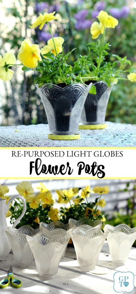 Don't trash those globes from the chandelier you just replaced. Up-cycle them into the cutest flower pots by simple re-purposing.