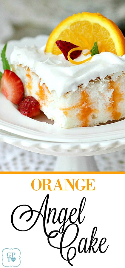 Easy recipe for Orange Angel Cake begins with a box mix. Poke holes throughout the baked cake and pour gelatin mixture over; cool and spread with whipped topping. Delicious!