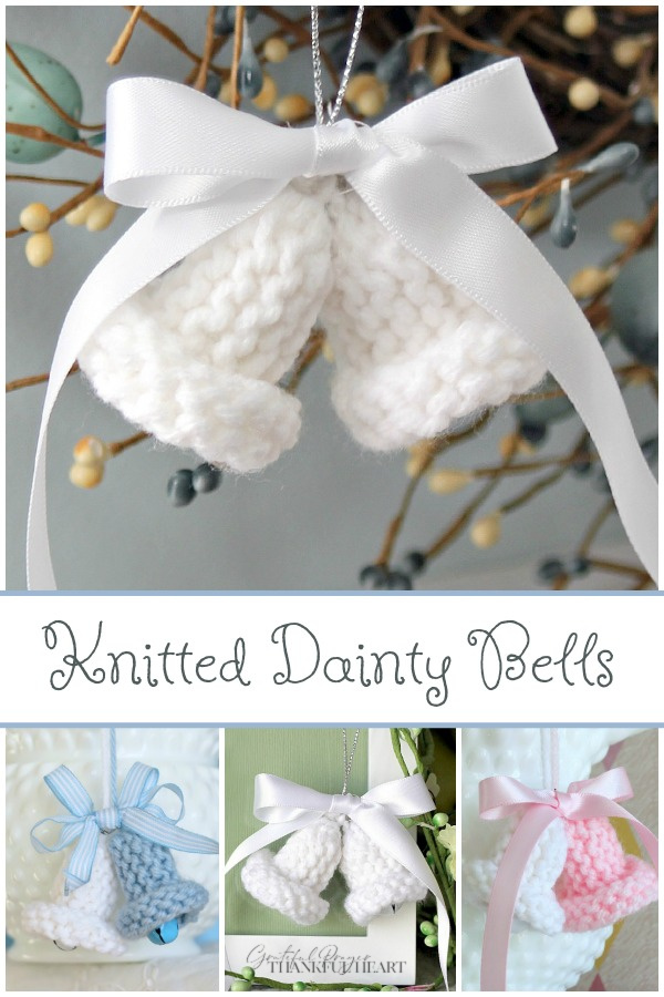 Knitted dainty bells is an easy vintage pattern. Little bells knit up quickly Easy and are sweet for holiday tree ornaments, baby or wedding shower favors and corsages.