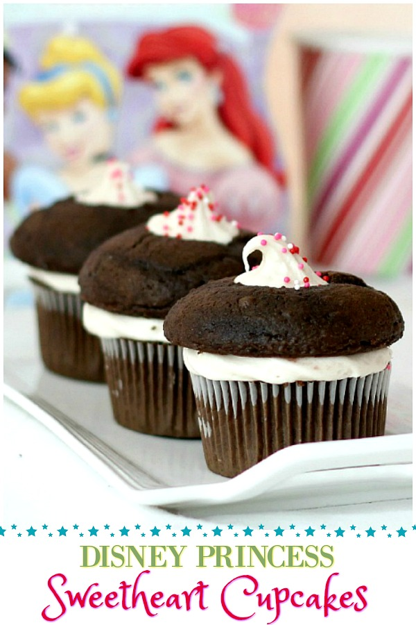 Disney Princess Cupcakes start with a mix and are filled with frosting mixed with jam. Sweetheart Chocolate Cupcakes are a fun & yummy kids cooking project.