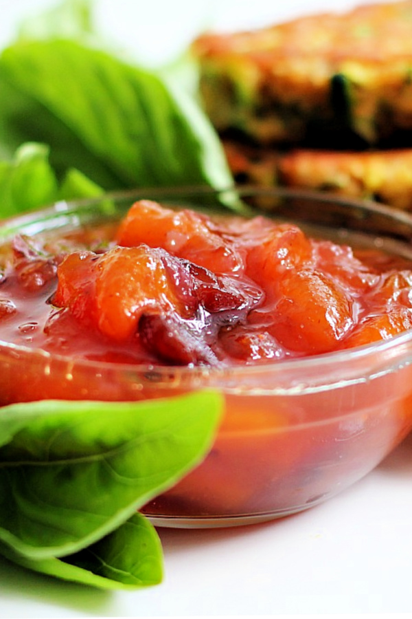 Easy recipe for peach chutney is made from fresh peaches. Sweet with a mild kick, it's a great condiment to serve with grilled chicken, pork or with cheese as an appetizer.