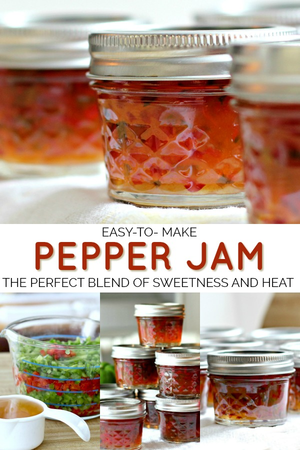 This easy recipe for pepper jam is a perfect balance of sweetness and heat and a great over goat or cream cheese as an appetizer. A lovely homemade food gift or canned to enjoy through the year.