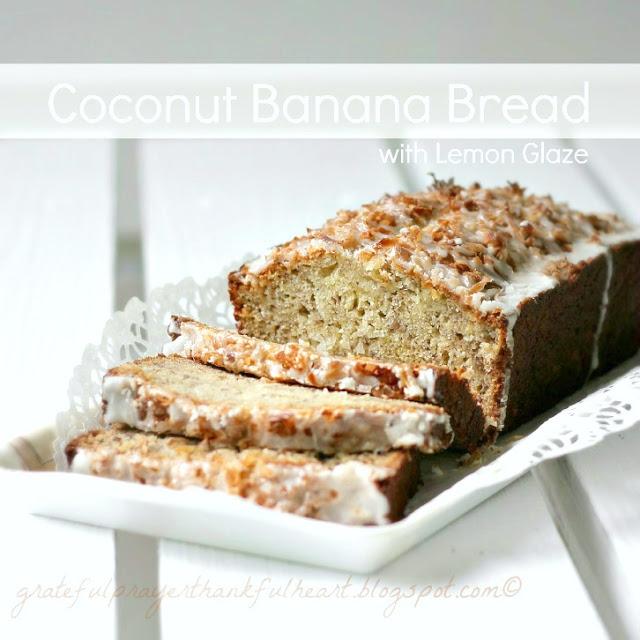 Coconut Banana Bread with Lemon Glaze