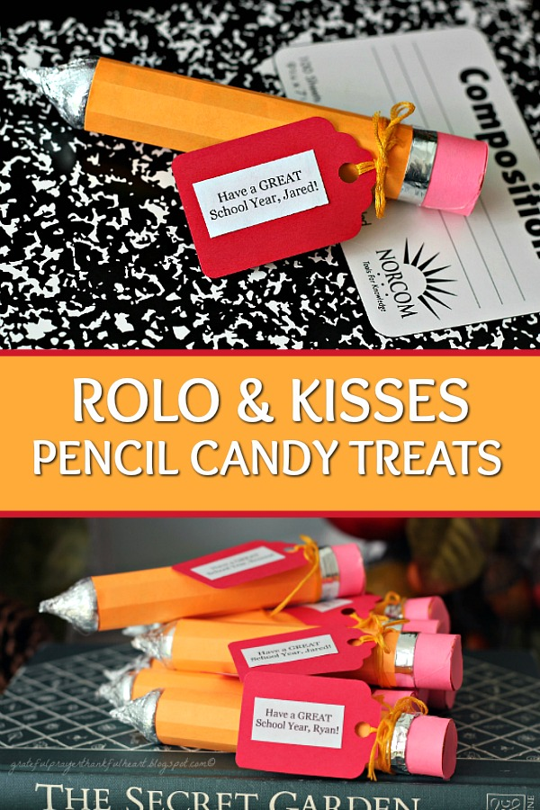 Make Rolo candy pencil treats for back to school or teacher gifts. An easy and fun craft project for kids of all ages using Rolo candy and Hershey Kisses.