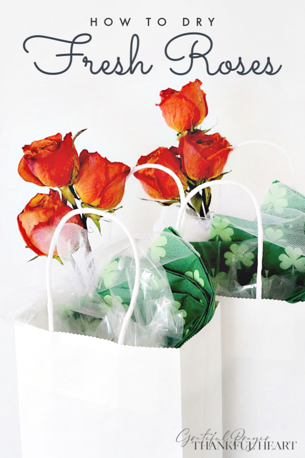 Make gifts festive by decorating with preserved dried roses. Easy how-to dry fresh roses from your garden or purchased.