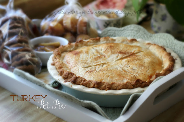 Make comforting Turkey Pot Pie using leftover roasted turkey and any leftover veggies or make fresh or frozen. use your own crust or a refrigerated one.
