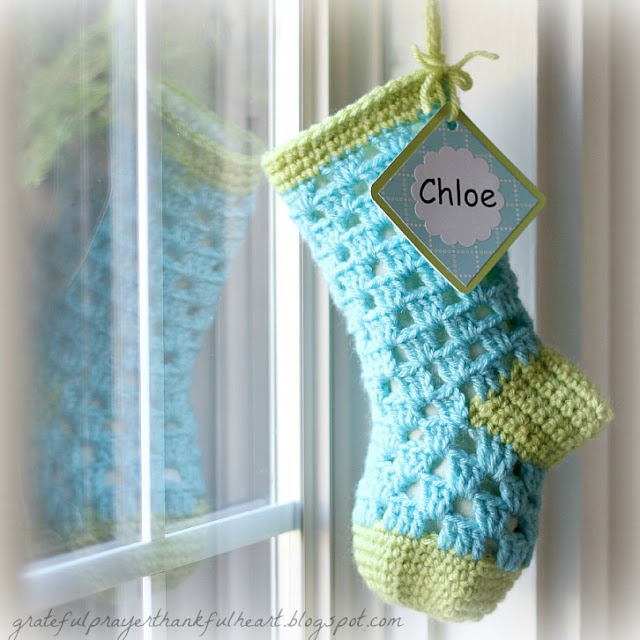 Pattern for crochet stocking for baby's 1st Christmas, It is lined with fabric to keep treasures safely inside. Just the right size for baby.