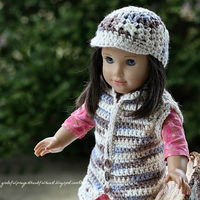 Adorable sweater vest with matching beanie hat American Girl Crochet Pattern for dolls. Work in solid color, make stripes or variegated to vary look.