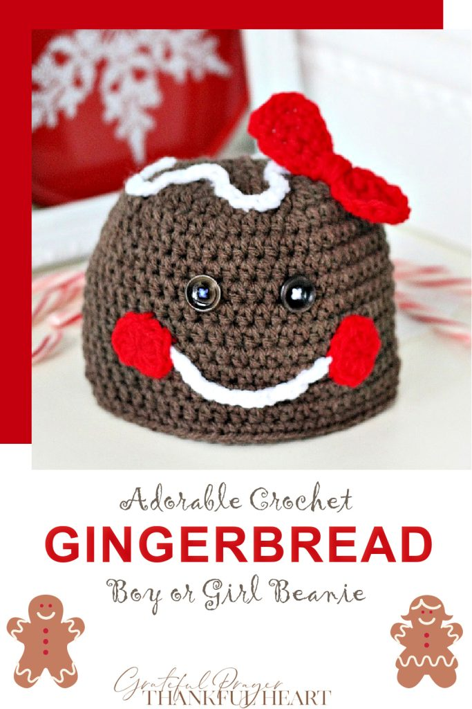 Adorable crochet Gingerbread hat for little boys or girls is a quick and easy pattern just perfect for grandchildren as a Christmas gift.