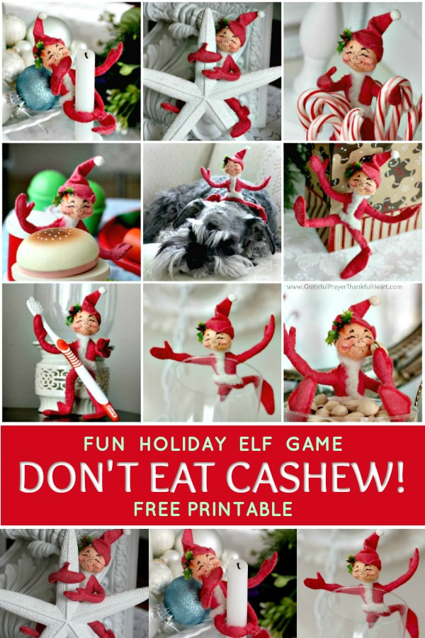A fun holiday game, Don't Eat Cashew is just like Don't Eat Pete but with a mischievous little Elf. This FREE printable is a great Christmas activity for kids.