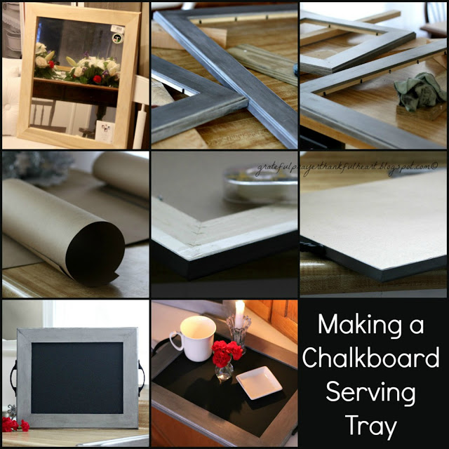 Make a chalkboard and serving tray with a brushed-metal look detailed DIY how-to instructions. Great housewarming gift for newlyweds.