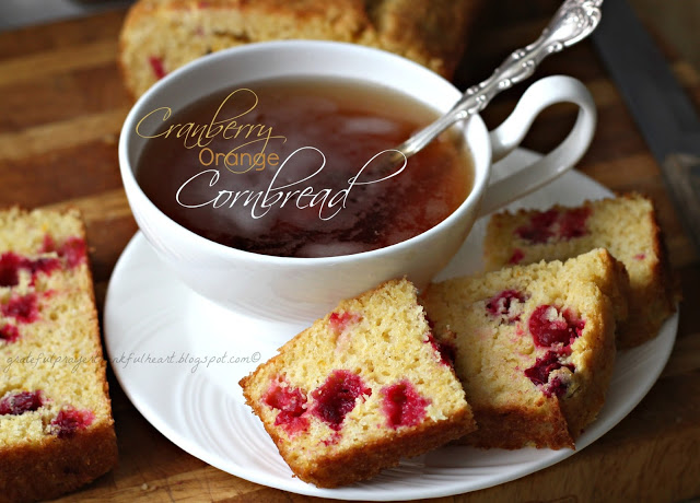 Quick, easy and delicious, Cranberry Orange Cornbread is lovely with tea for breakfast or morning coffee break time. Substitute blueberries or raspberries.