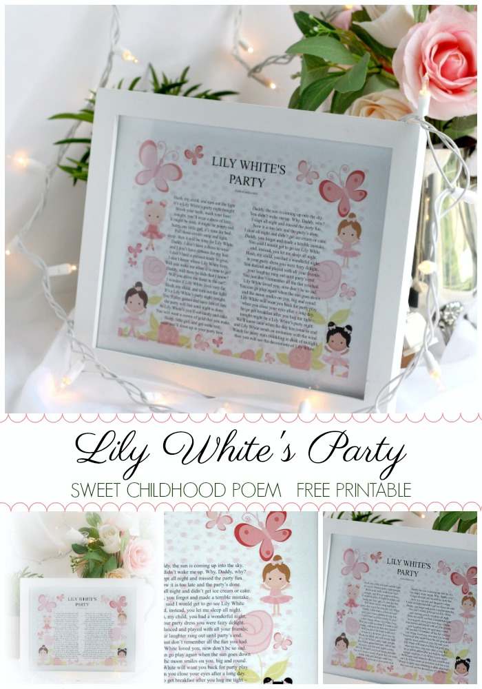 Lily's White's Party is a sweet poem that my husband's mom recited to him as a child. Our children now shares it with our grandchildren. FREE Printable
