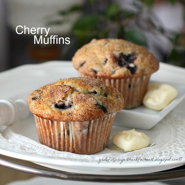 Homemade cherry muffins