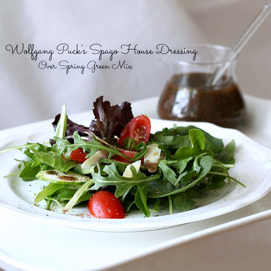 An easy salad of spring greens, grape tomatoes, thinly sliced zucchini and shaved cheese comes to life with the sophisticated flavor of a dressing from Wolfgang Puck's Spago House Dressing. Put it together in a few minutes!